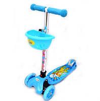 Детский самокат трехколесный синий для мальчика, колеса светятся