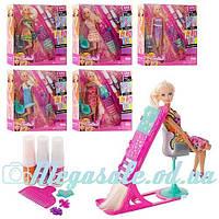 Кукла барби шарнирная Салон красоты 66449, 6 видов: краска для волос + аксессуары