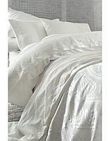 Постельное белье Karaca Home Yade krem кремовое + покрывало Pike.