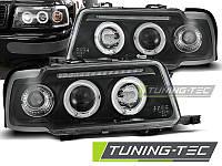 Передние тюнинг фары Audi 80 B4 1991-1996 г.в. ангельские глазки, линза, черные
