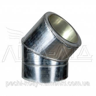 Коліно 45 сендвіч (термо) 1 мм н/оц AISI 304