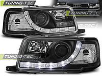 Передние тюнинг фары Audi 80 B4 1991-1996 г.в. дневные ходовые огни, линза, черные