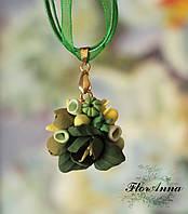 """""""Зеленый чай"""" авторский кулон/подвеска с цветами из полимерной глины"""