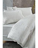 Постельное белье Karaca Home Karya krem кремовое + покрывало Pike.