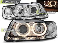 Передние тюнинг фары Audi A3 2000-2003 г.в. линза, ангельские глазки хром