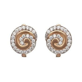 Золотые серьги круглые c фианитом цирконием 33464