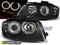 Передние тюнинг фары Audi A3 2003-2008 г.в. линза, ангельские глазки черные