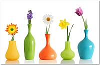 Стеклянный фартук для кухни - скинали Цветы в вазе