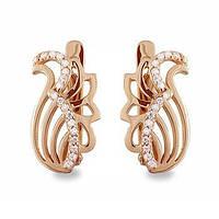 Золотые серьги лебеди с фианитами цирконием 33468