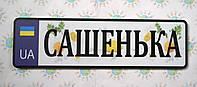 Современный номер на коляску с цветным фоном Сашенька