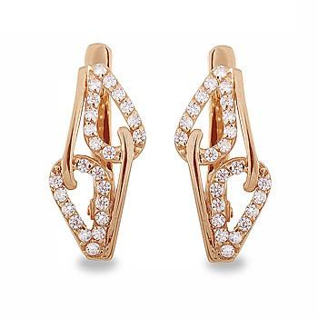 Золотые серьги листики  с фианитами цирконием 33469