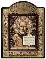 Набор с фигурной рамкой для вышивания бисером икона Св. Николай Чудотворец СН8003