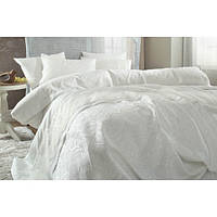 Набор постельное белье с покрывалом пике Karaca Home - Beren Pike сатин евро кремовый
