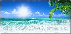 Стеклянный фартук для кухни - скинали Пляж Пальма