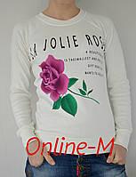 """Свитшот молодежный """"Jolie Rose""""- белый"""