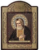 Набор с фигурной рамкой для вышивания бисером икона Св. Прп. Серафим Саровский СН8010