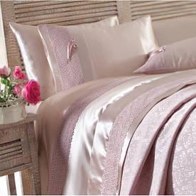 Набор постельное белье с покрывалом пике Karaca Home - Tugce g. kurusu розовое евро