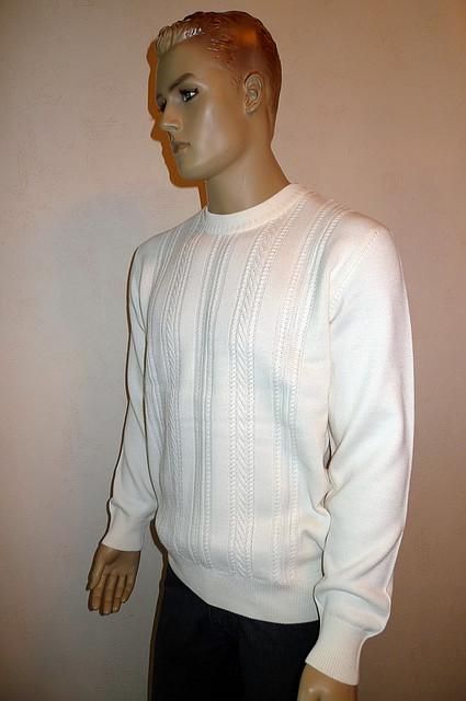 Белый джемпер с кожаными вставками Gianni Marcelo