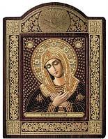 Набор с фигурной рамкой для вышивания бисером икона Богородица «Умиление» СН8022
