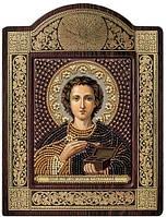 Набор с фигурной рамкой для вышивания бисером икона Св. Вмч. Целитель Пантелеимон СН8033