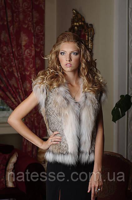 Короткий жилет жилетка из рыси canadian lynx fur vest gilet