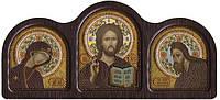Набор с фигурной рамкой для вышивания бисером икона Деисусный Чин СЕ6001