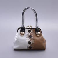 Белая с бежевым сумка женская Velina Fabbiano
