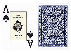 Пластиковые игральные карты Fournier 2818 (синяя рубашка)