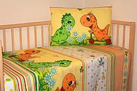 """Комплект постелидля детей из 3-ед- """"Дино зеленый на желтом фоне"""""""