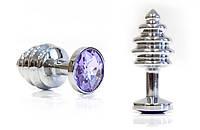 Втулка серебряная цвет кристалла светло - фиолетовый (маленькая)
