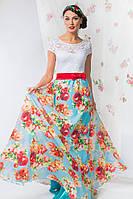 """Длинное нарядное платье """"Melissa"""" с гипюровым верхом и цветочным принтом (4 цвета)"""