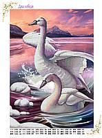 """Схема для вышивки бисером птицы """"Два лебедя"""""""