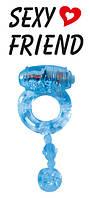Кольцо эрекционное с вибрацией голубое