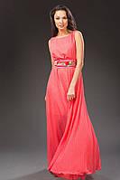 """Длинное нарядное платье в горошек """"Lisa"""" с поясом (8 цветов)"""