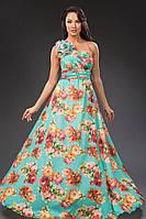 """Длинное нарядное платье на одно плечо """"Karen"""" с цветочным принтом (2 цвета)"""