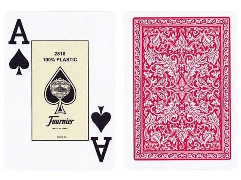 Пластиковые игральные карты Fournier 2818 (красная рубашка)