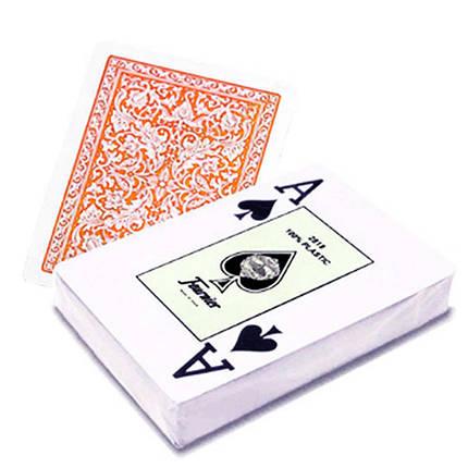 Пластиковые игральные карты Fournier (оранжевая рубашка), фото 2