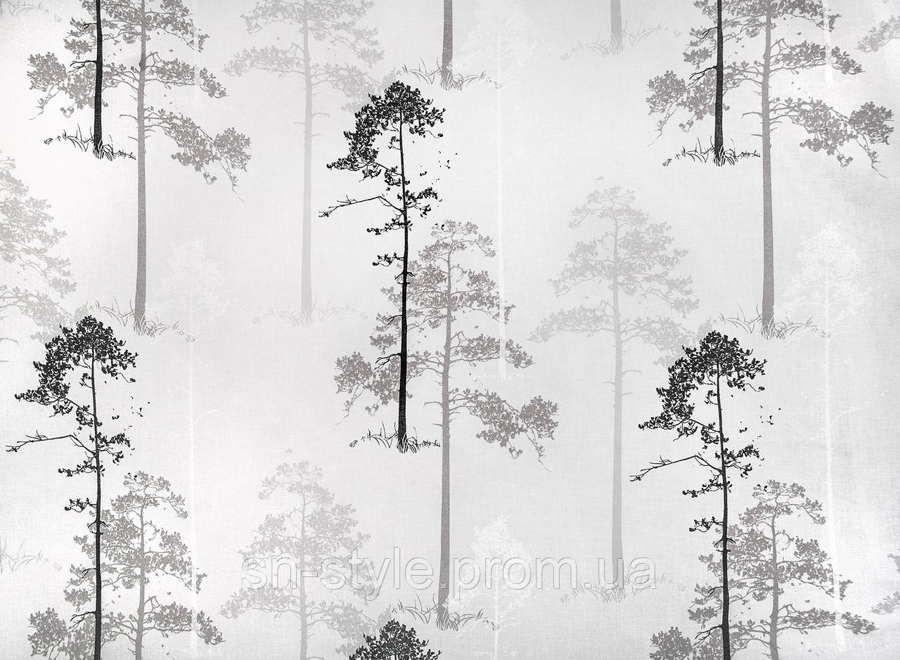 Тюль принт деревья