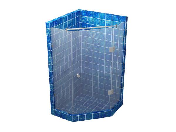 Душевая кабина 135 градусов с распашной дверью на стекле