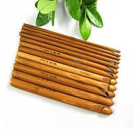 Крючки для вязания бамбуковые набор 12 шт