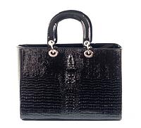 Сумка Крокодилл Черный Christian Dior Дамская Строгая Сумочка Диор