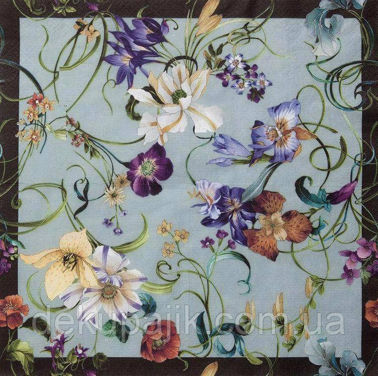 Коллекционная салфетка для декупажа Цветы на всю салфетку 5698