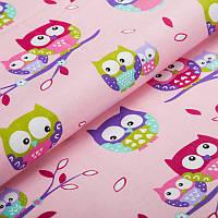 Детская ткань с  с совами на розовом