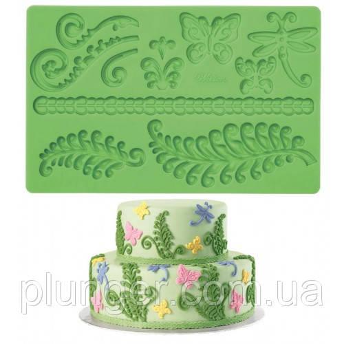 Молд кондитерський силіконовий для мастики Папороть, метелики