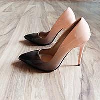 Бежевые туфли лодочки омбрэ омбре / градиент 35 размер