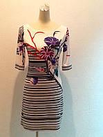 Женское летнее платье короткое рукав 3/4 в стиле Valentino белое с рисунком стильное яркое модное, фото 1