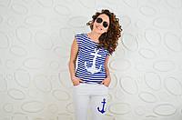 Літній костюм морячка якір (Летний костюм морячка якорь белые брюки,футболка электрик.)