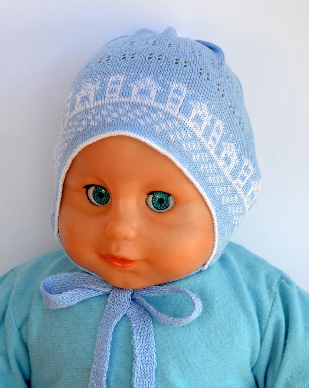 Вязаная шапочка для новорожденного мальчика