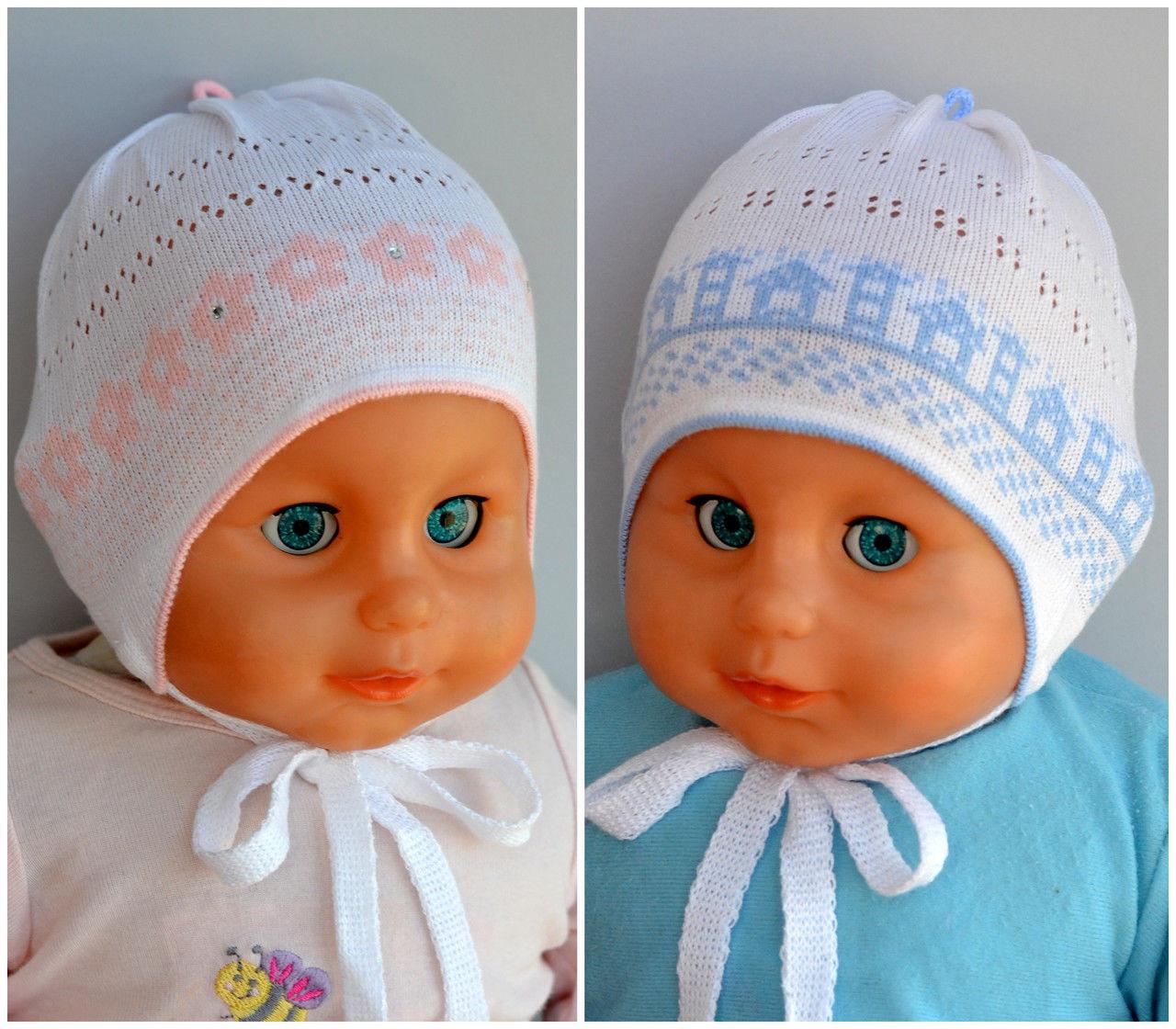 легкая вязаная шапочка для новорожденных