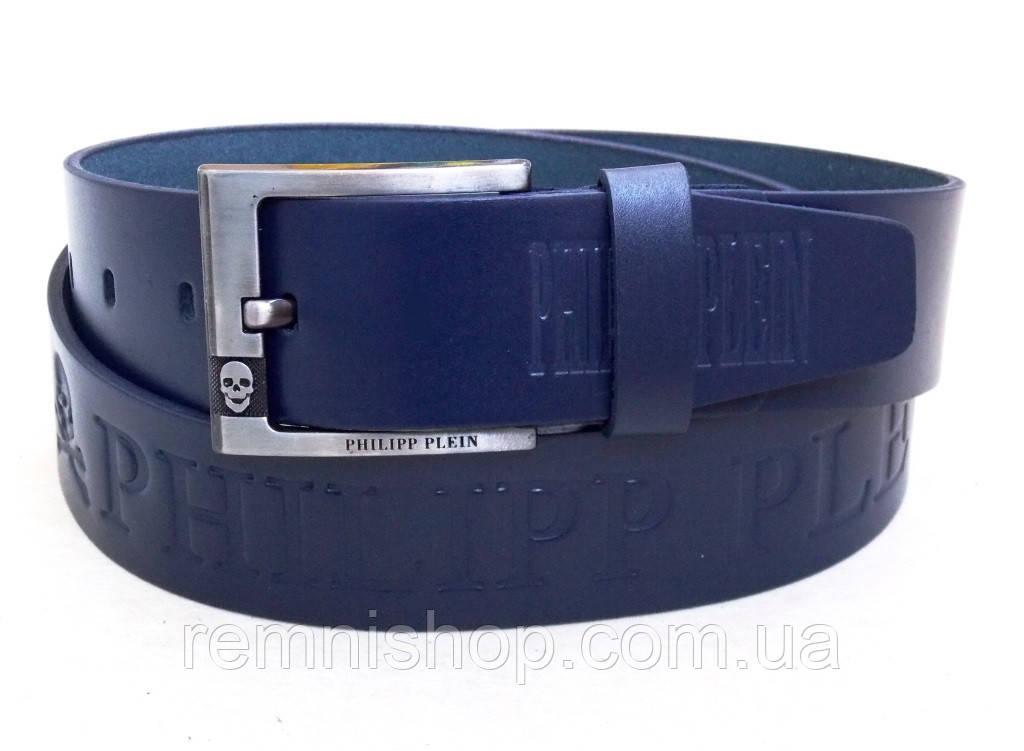 Синий мужской кожаный ремень в модная коллекция ремни кожаные